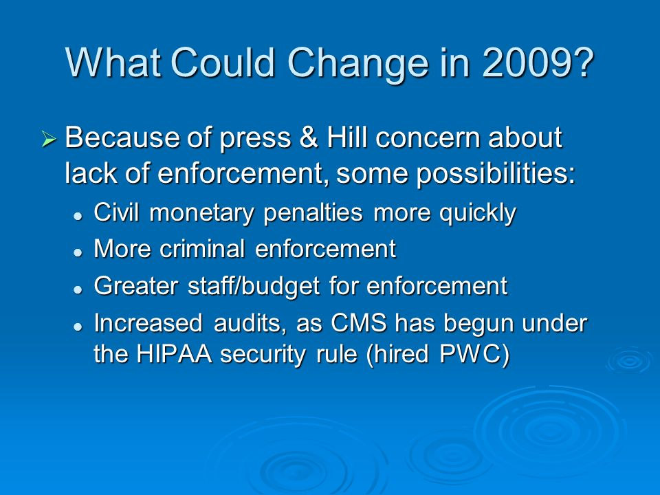 What Could Change in 2009.