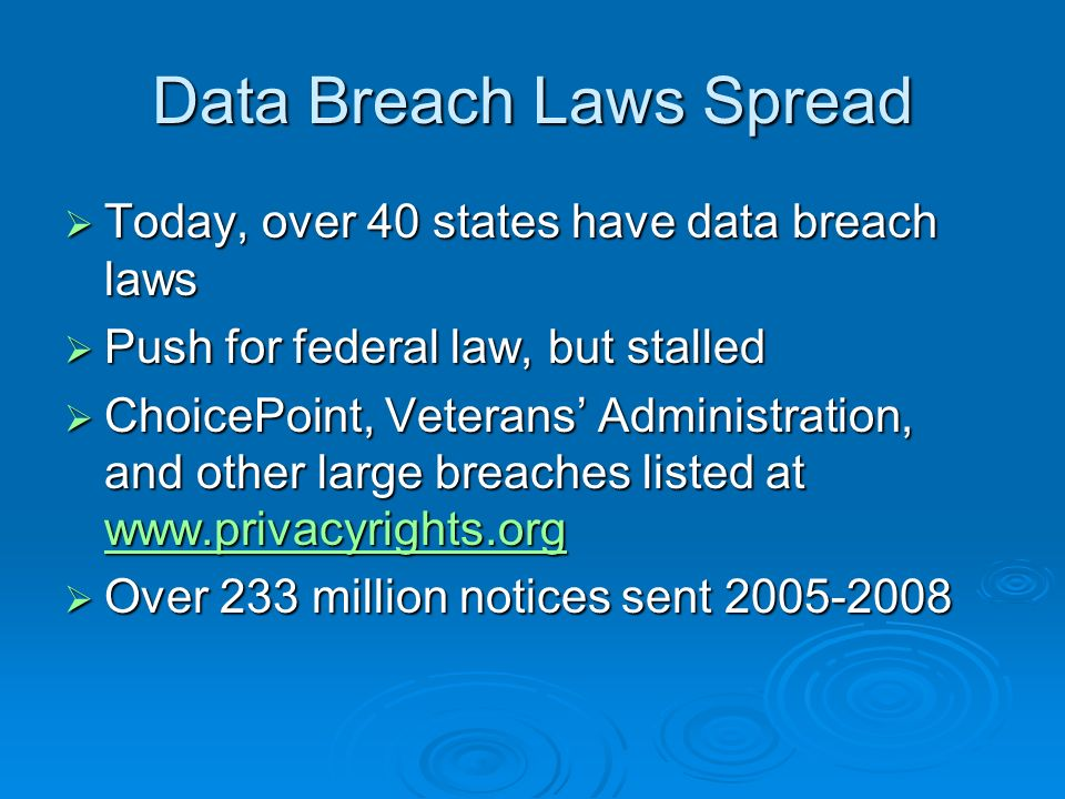 Data Breach Laws Spread Today, over 40 states have data breach laws Today, over 40 states have data breach laws Push for federal law, but stalled Push for federal law, but stalled ChoicePoint, Veterans Administration, and other large breaches listed at www.privacyrights.org ChoicePoint, Veterans Administration, and other large breaches listed at www.privacyrights.org www.privacyrights.org Over 233 million notices sent 2005-2008 Over 233 million notices sent 2005-2008