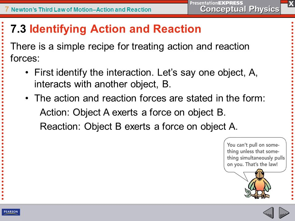7 Newtons Third Law of Motion–Action and Reaction There is a simple recipe for treating action and reaction forces: First identify the interaction. Le
