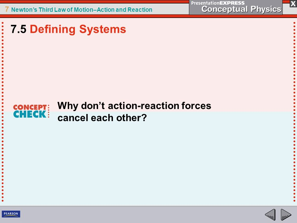 7 Newtons Third Law of Motion–Action and Reaction Why dont action-reaction forces cancel each other? 7.5 Defining Systems
