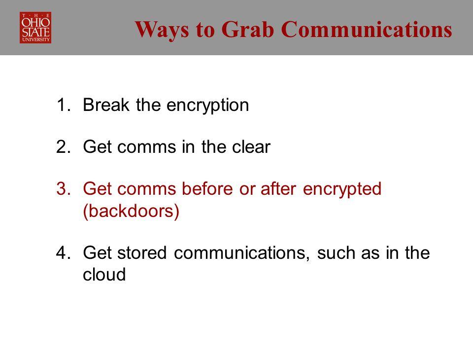 Ways to Grab Communications 1. Break the encryption 2.