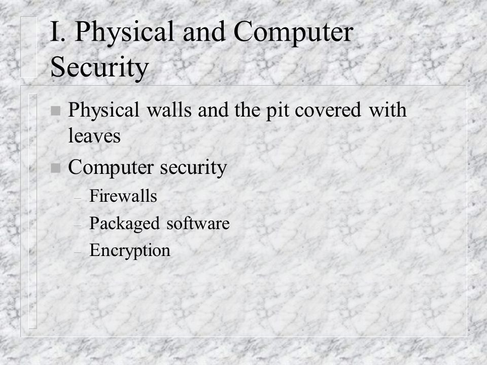 I. Physical and Computer Security n Physical walls and the pit covered with leaves n Computer security – Firewalls – Packaged software – Encryption