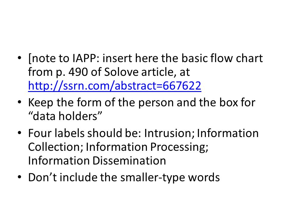 [note to IAPP: insert here the basic flow chart from p. 490 of Solove article, at http://ssrn.com/abstract=667622 http://ssrn.com/abstract=667622 Keep