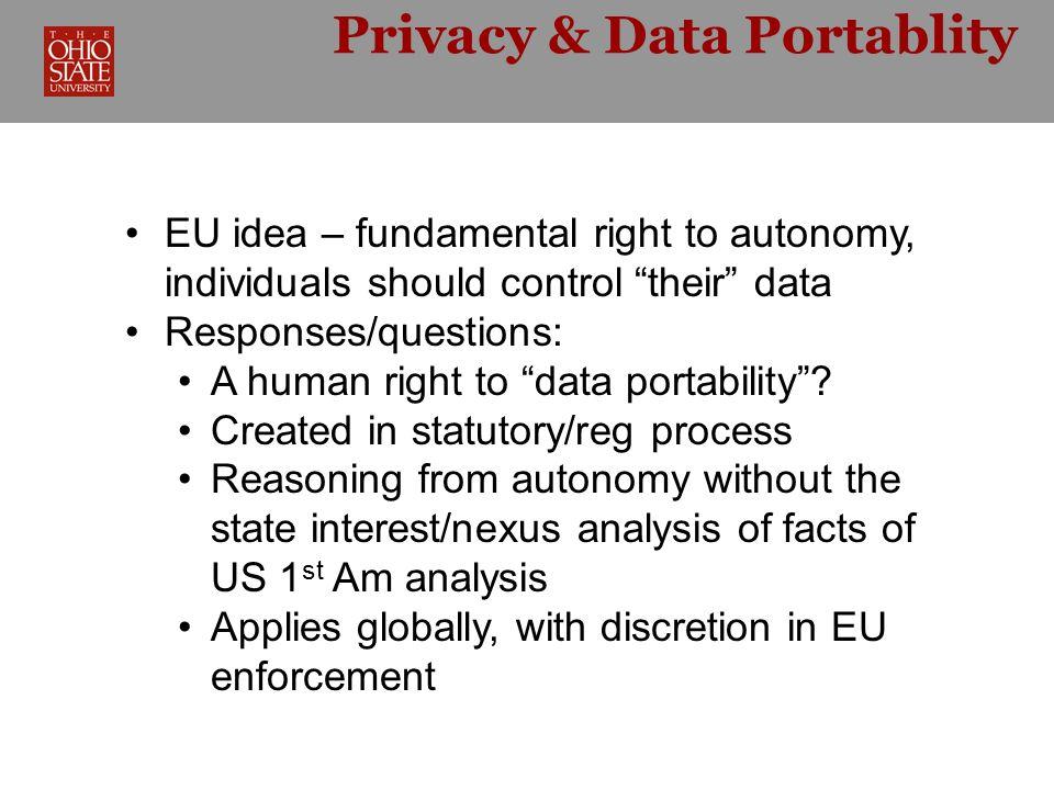 Privacy & Data Portablity RDP as a privacy regulation.