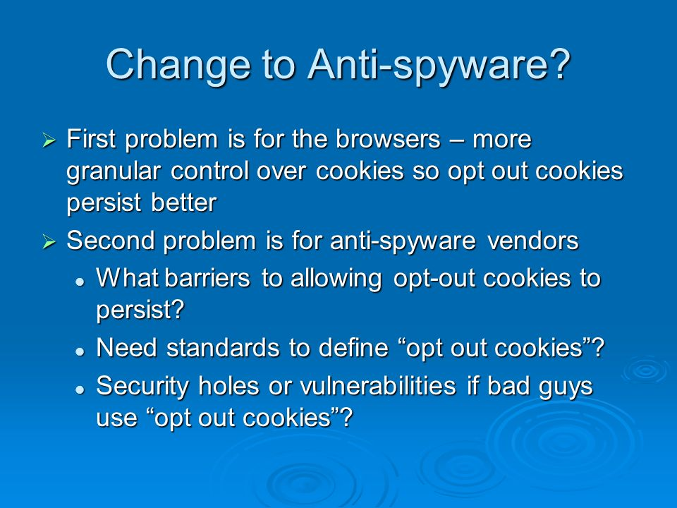 Change to Anti-spyware.