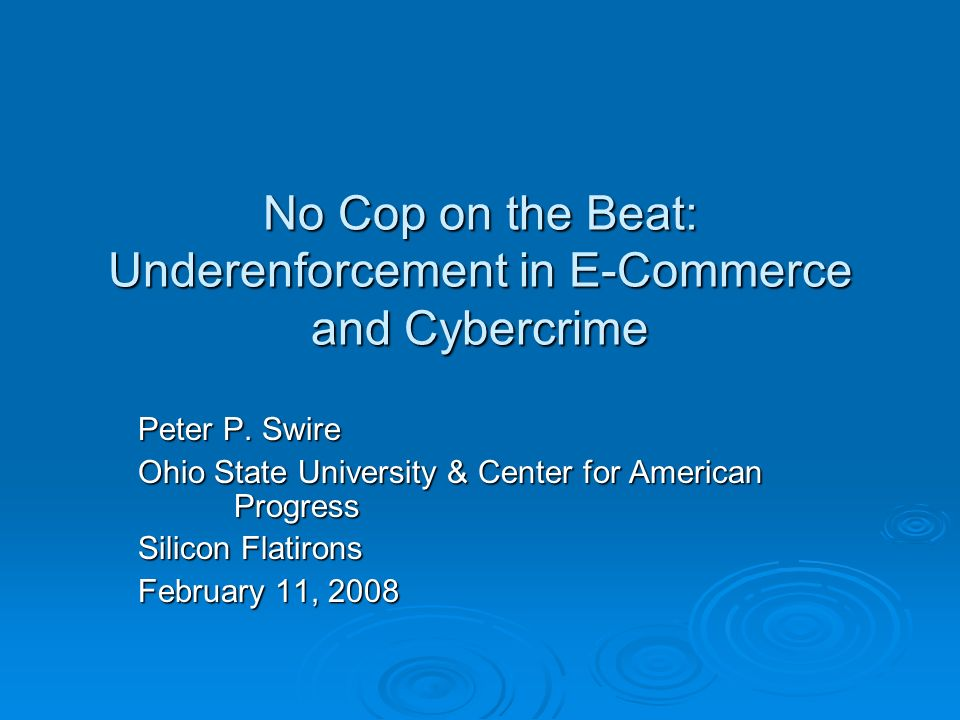 Conclusion The paper highlights the information and commons problems that exist for local enforcement and non-local fraud & crime The paper highlights the information and commons problems that exist for local enforcement and non-local fraud & crime Likely need to shift to federal or federated enforcement Likely need to shift to federal or federated enforcement For whatever level of enforcement we want for each type of law, the next Administration should design strategies that address these problems For whatever level of enforcement we want for each type of law, the next Administration should design strategies that address these problems