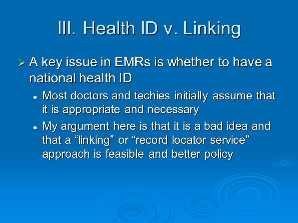 III. Health ID v.