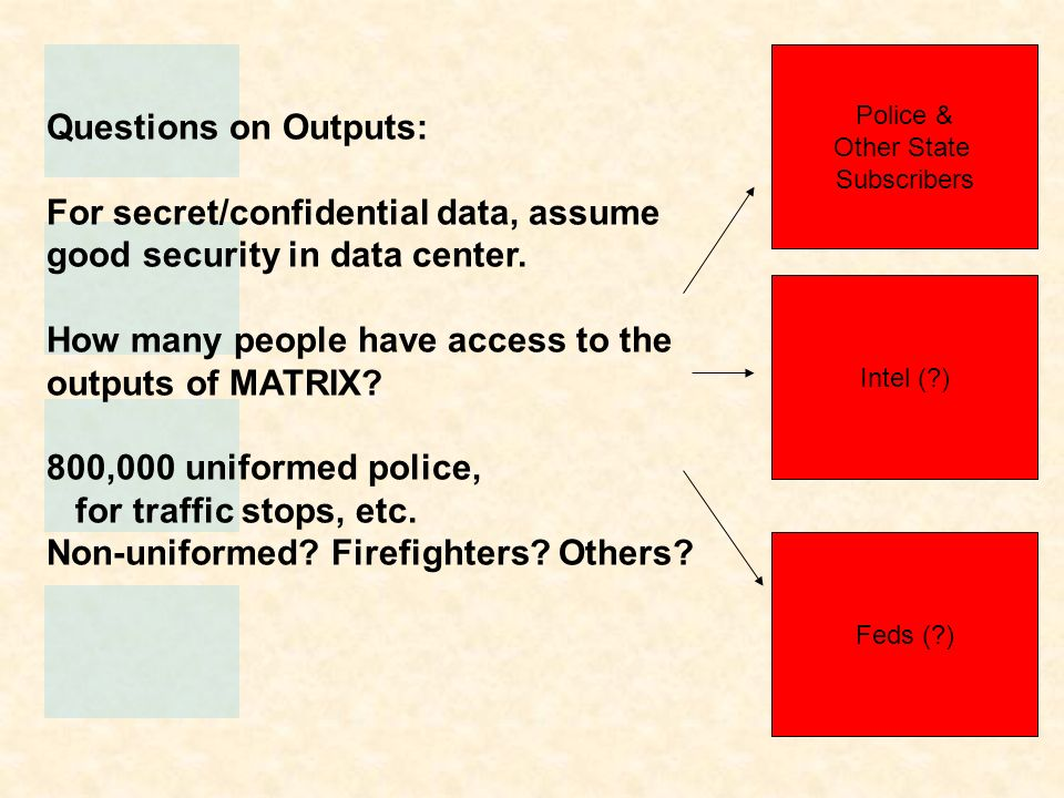 Questions on Outputs: For secret/confidential data, assume good security in data center. How many people have access to the outputs of MATRIX? 800,000