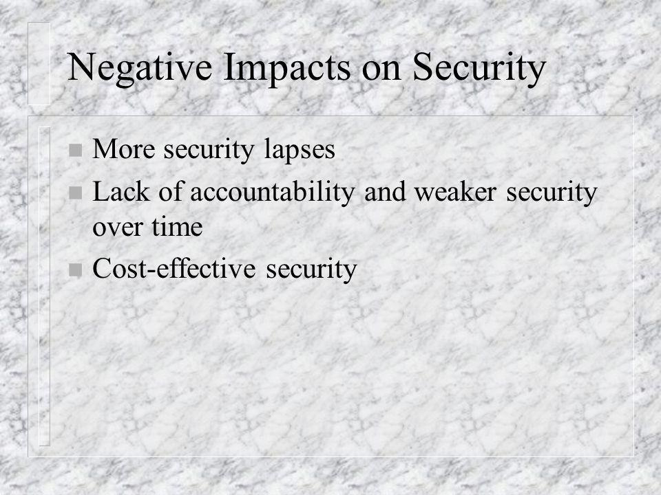 Negative Impacts on Security n More security lapses n Lack of accountability and weaker security over time n Cost-effective security