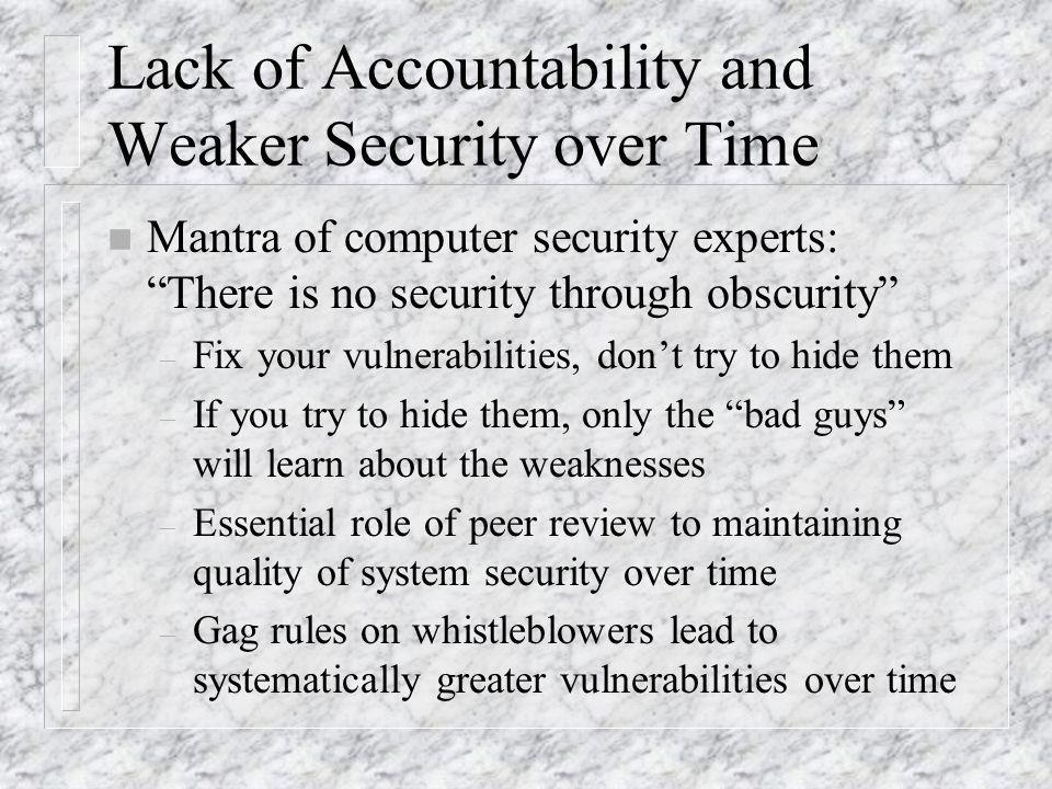 Lack of Accountability and Weaker Security over Time n Mantra of computer security experts: There is no security through obscurity – Fix your vulnerabilities, dont try to hide them – If you try to hide them, only the bad guys will learn about the weaknesses – Essential role of peer review to maintaining quality of system security over time – Gag rules on whistleblowers lead to systematically greater vulnerabilities over time