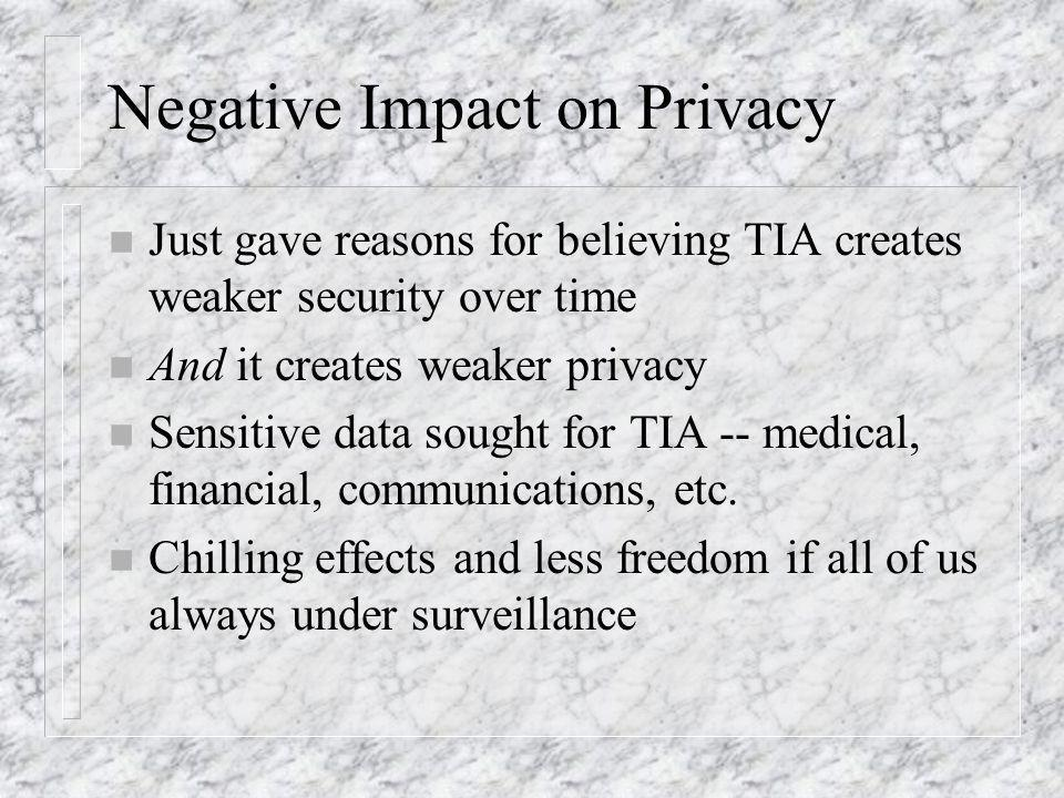 Negative Impact on Privacy n Just gave reasons for believing TIA creates weaker security over time n And it creates weaker privacy n Sensitive data sought for TIA -- medical, financial, communications, etc.
