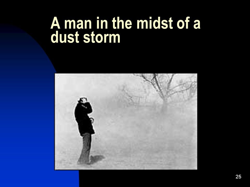 25 A man in the midst of a dust storm