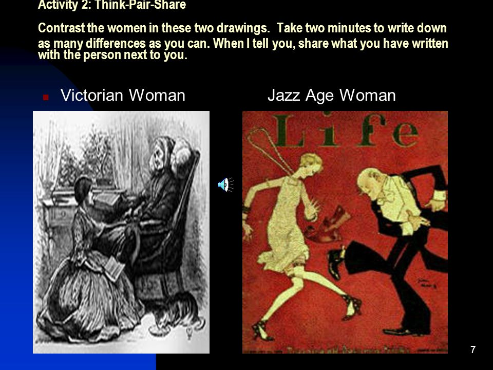 7 Activity 2: Think-Pair-Share Contrast the women in these two drawings.