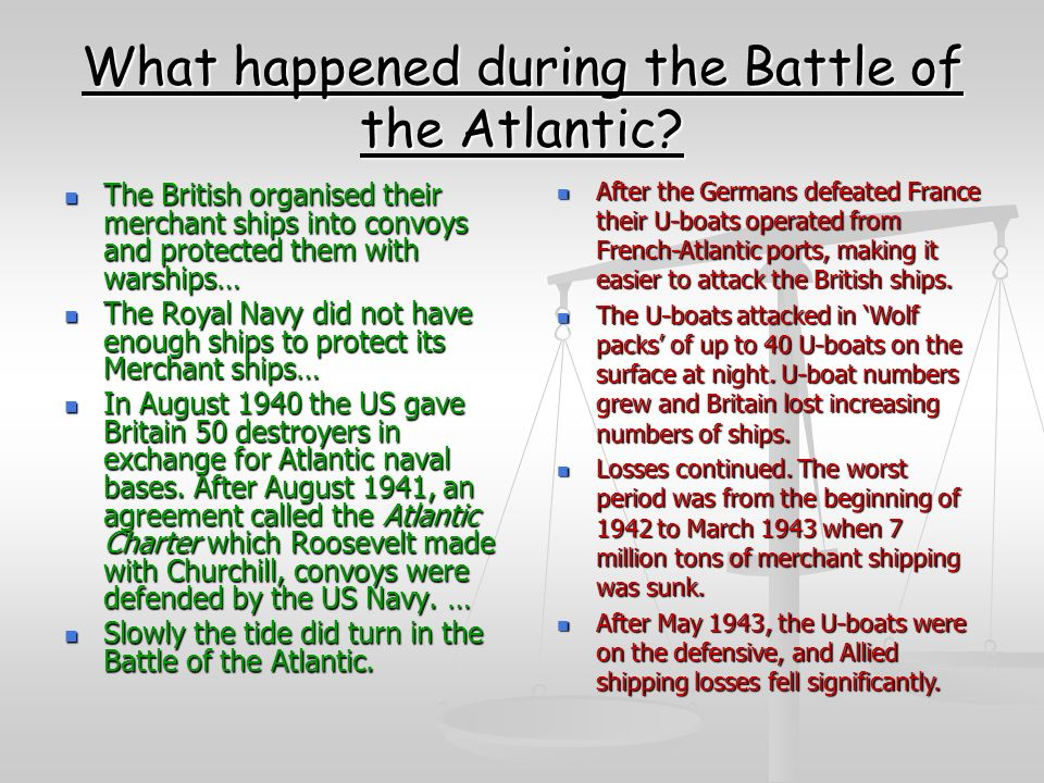 What happened during the Battle of the Atlantic.