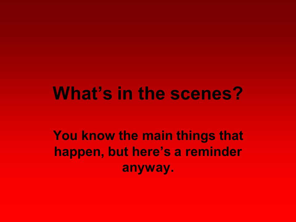 Whats in the scenes? You know the main things that happen, but heres a reminder anyway.