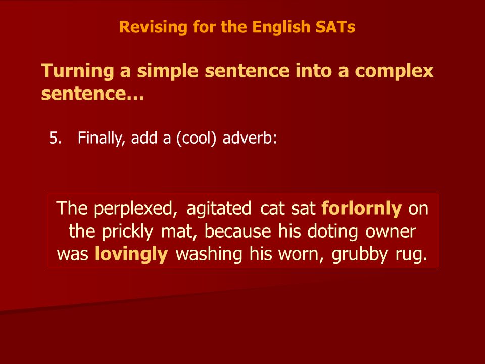 Revising for the English SATs Turning a simple sentence into a complex sentence… 5.