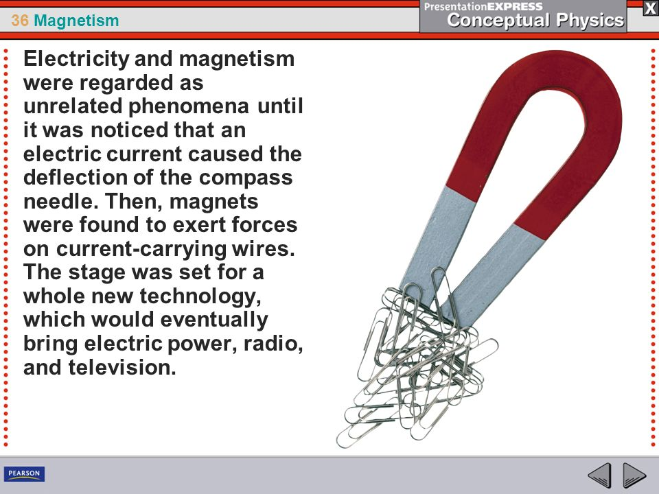36 Magnetism Electricity and magnetism were regarded as unrelated phenomena until it was noticed that an electric current caused the deflection of the