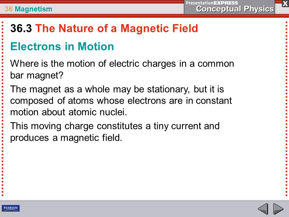 36 Magnetism Electrons in Motion Where is the motion of electric charges in a common bar magnet? The magnet as a whole may be stationary, but it is co