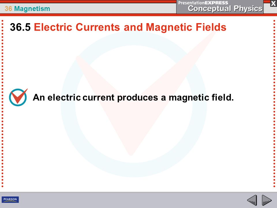 36 Magnetism An electric current produces a magnetic field. 36.5 Electric Currents and Magnetic Fields