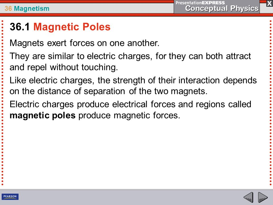 36 Magnetism Magnets exert forces on one another. They are similar to electric charges, for they can both attract and repel without touching. Like ele