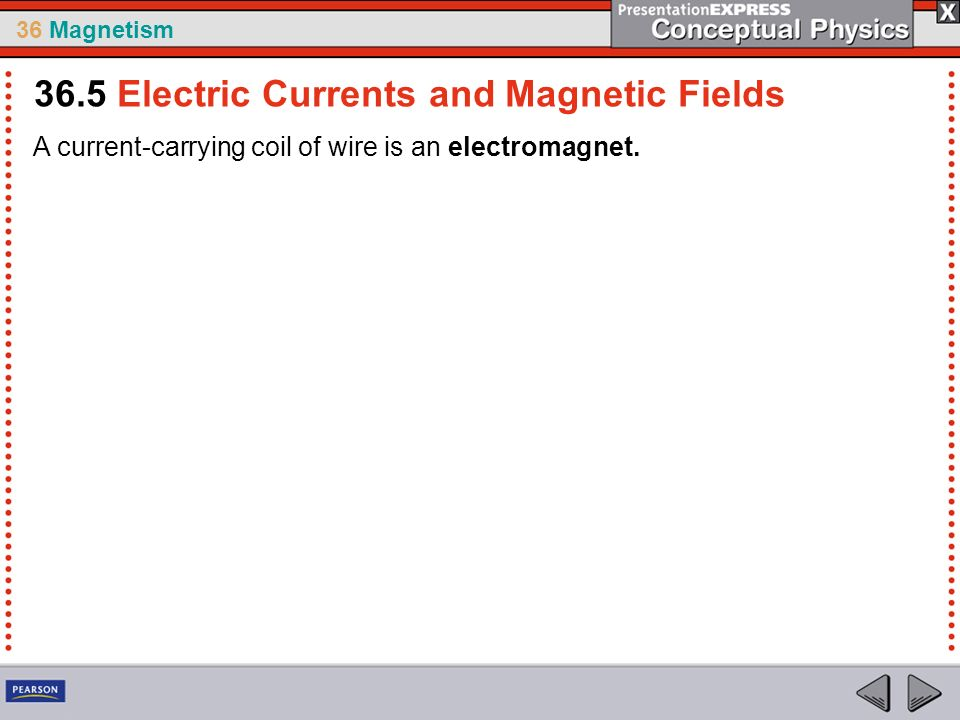 36 Magnetism A current-carrying coil of wire is an electromagnet. 36.5 Electric Currents and Magnetic Fields