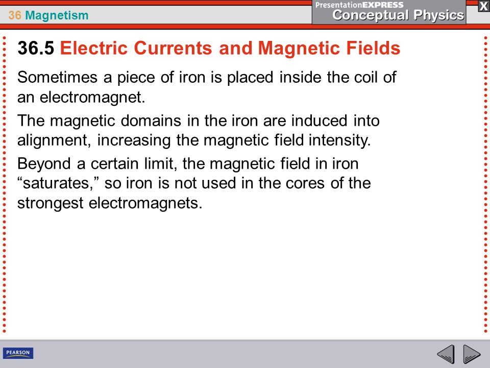 36 Magnetism Sometimes a piece of iron is placed inside the coil of an electromagnet.