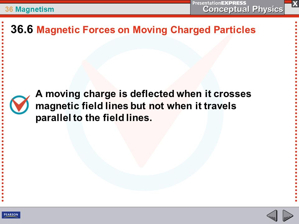36 Magnetism A moving charge is deflected when it crosses magnetic field lines but not when it travels parallel to the field lines. 36.6 Magnetic Forc