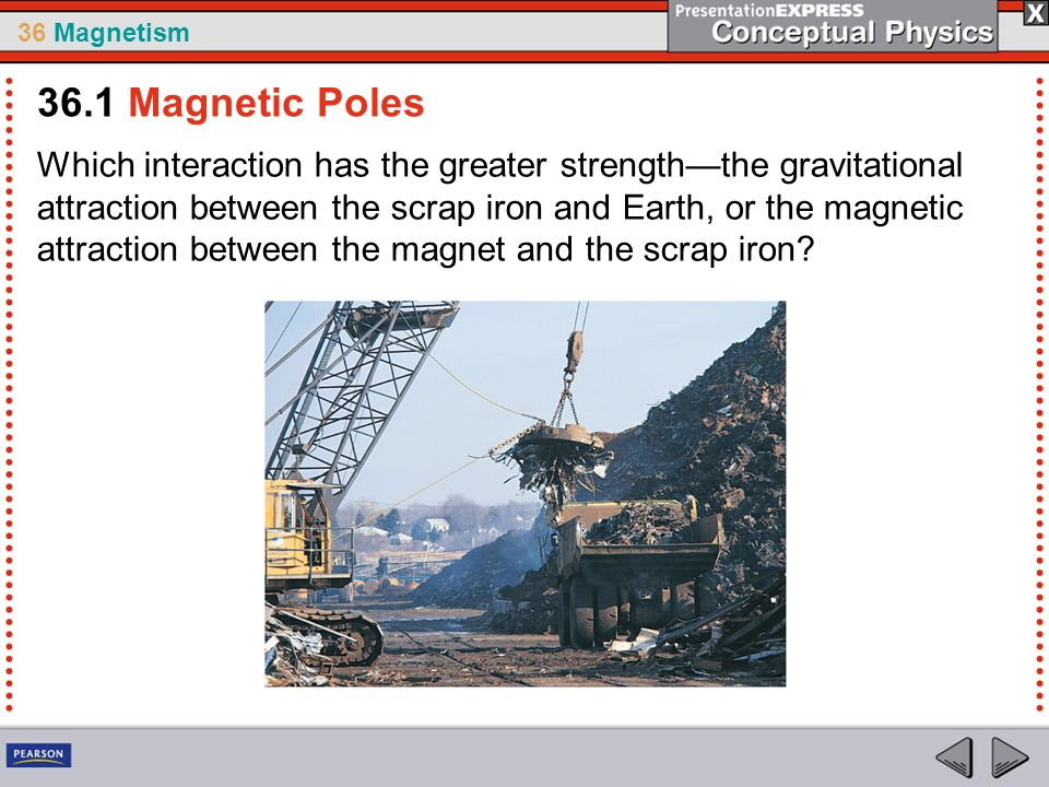 36 Magnetism Which interaction has the greater strengththe gravitational attraction between the scrap iron and Earth, or the magnetic attraction between the magnet and the scrap iron.