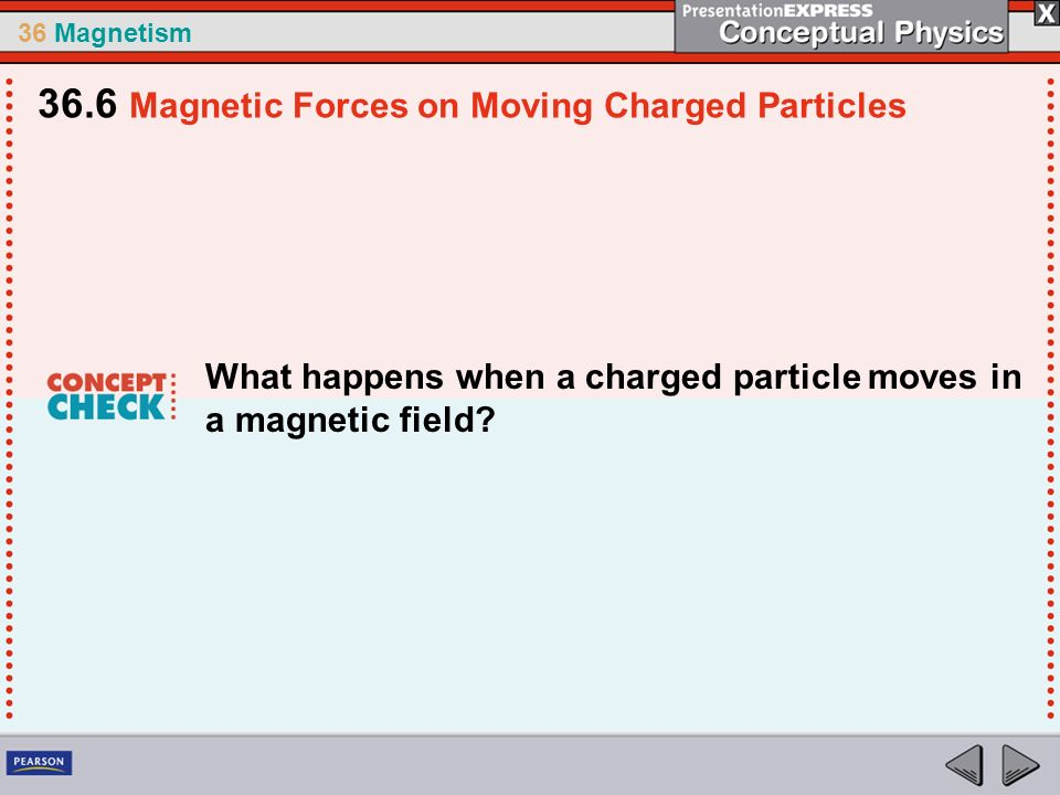 36 Magnetism What happens when a charged particle moves in a magnetic field? 36.6 Magnetic Forces on Moving Charged Particles