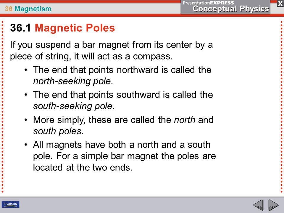 36 Magnetism If you suspend a bar magnet from its center by a piece of string, it will act as a compass. The end that points northward is called the n