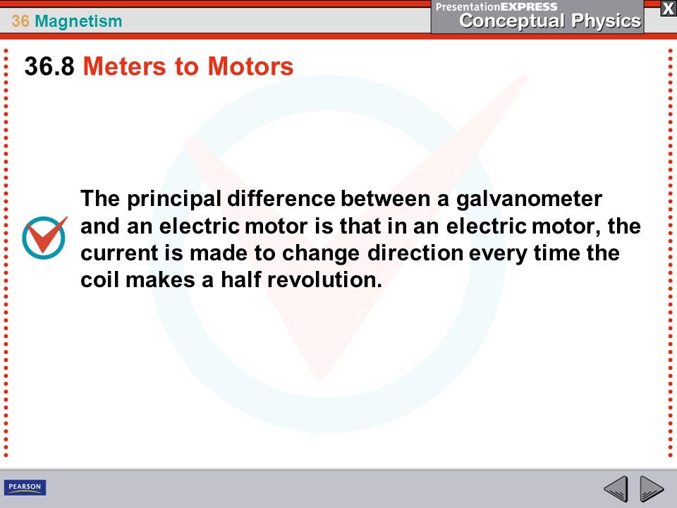 36 Magnetism The principal difference between a galvanometer and an electric motor is that in an electric motor, the current is made to change direction every time the coil makes a half revolution.