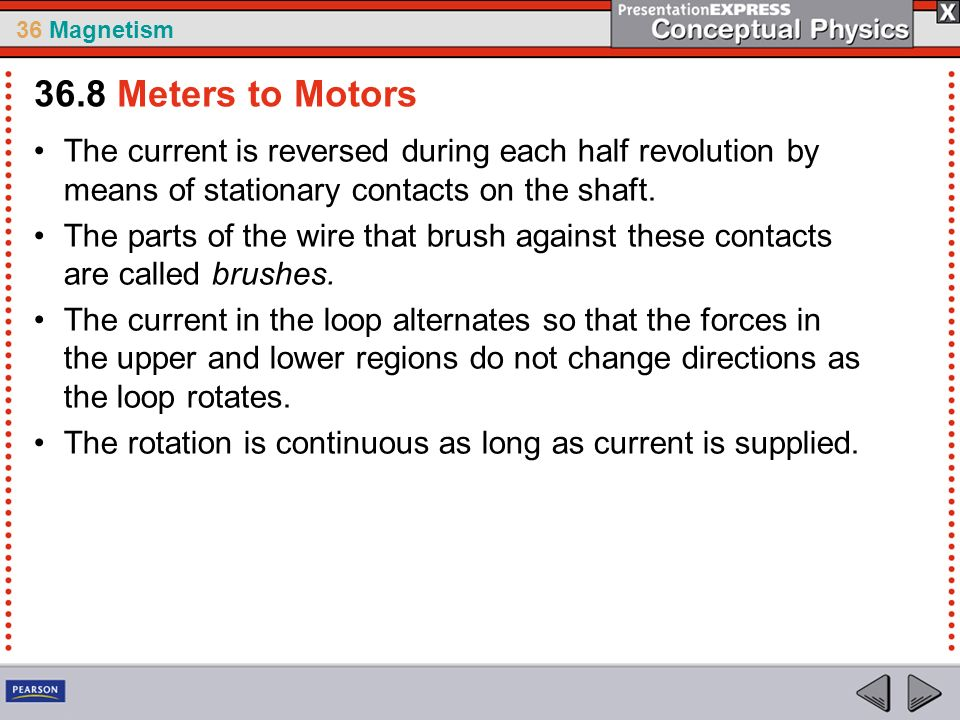 36 Magnetism The current is reversed during each half revolution by means of stationary contacts on the shaft. The parts of the wire that brush agains