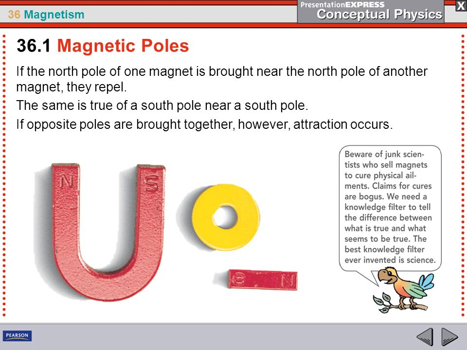 36 Magnetism If the north pole of one magnet is brought near the north pole of another magnet, they repel.