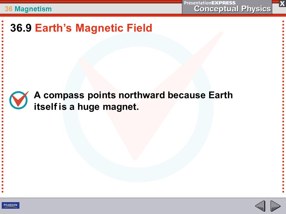 36 Magnetism A compass points northward because Earth itself is a huge magnet. 36.9 Earths Magnetic Field