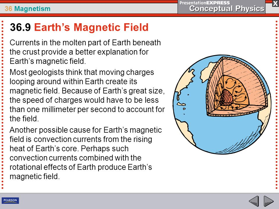 36 Magnetism Currents in the molten part of Earth beneath the crust provide a better explanation for Earths magnetic field. Most geologists think that