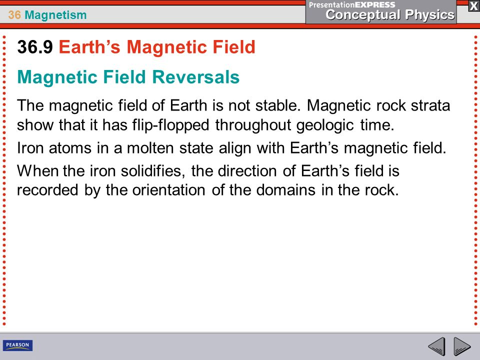36 Magnetism Magnetic Field Reversals The magnetic field of Earth is not stable. Magnetic rock strata show that it has flip-flopped throughout geologi