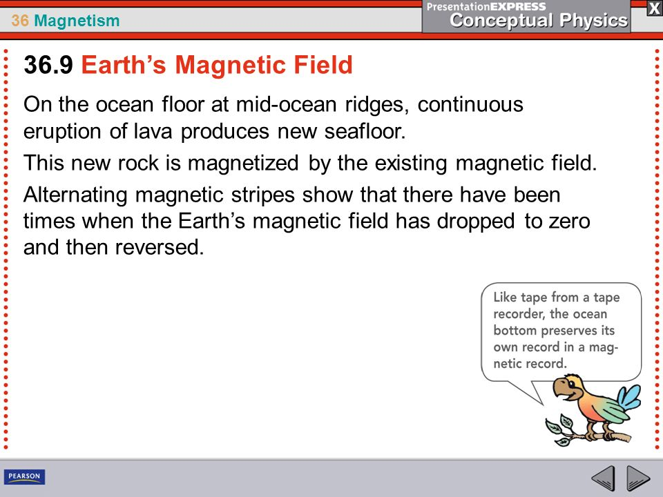 36 Magnetism On the ocean floor at mid-ocean ridges, continuous eruption of lava produces new seafloor.