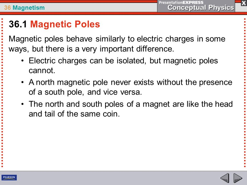 36 Magnetism Magnetic poles behave similarly to electric charges in some ways, but there is a very important difference. Electric charges can be isola