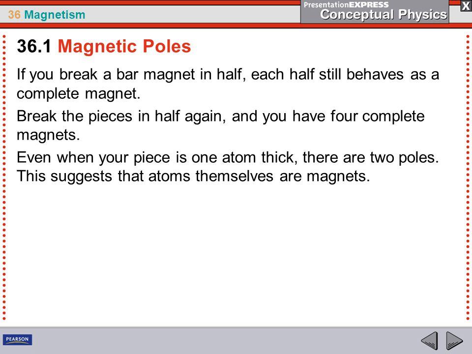 36 Magnetism If you break a bar magnet in half, each half still behaves as a complete magnet.