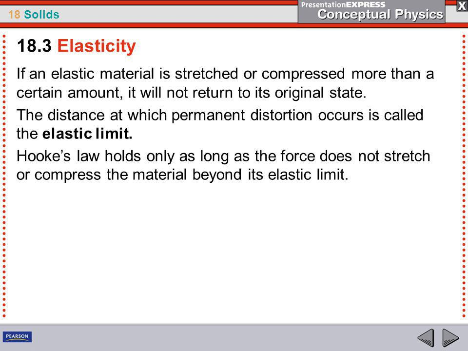 18 Solids If an elastic material is stretched or compressed more than a certain amount, it will not return to its original state.