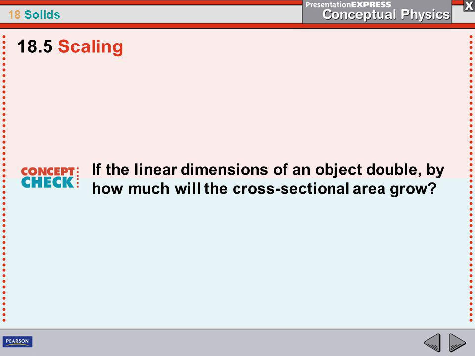 18 Solids If the linear dimensions of an object double, by how much will the cross-sectional area grow.