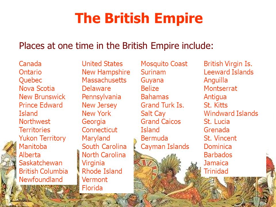 The British Empire Places at one time in the British Empire include: Canada Ontario Quebec Nova Scotia New Brunswick Prince Edward Island Northwest Te