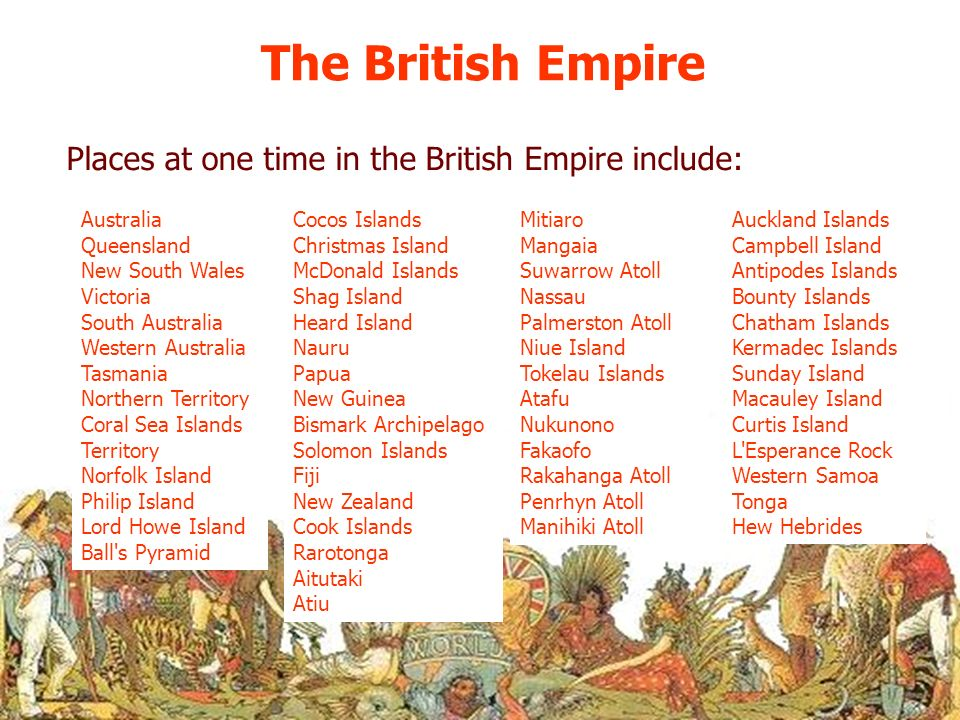 The British Empire Places at one time in the British Empire include: Australia Queensland New South Wales Victoria South Australia Western Australia T