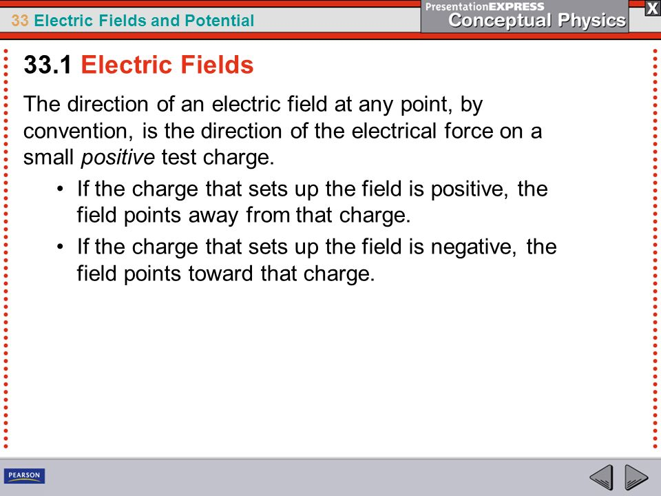 33 Electric Fields and Potential The direction of an electric field at any point, by convention, is the direction of the electrical force on a small p