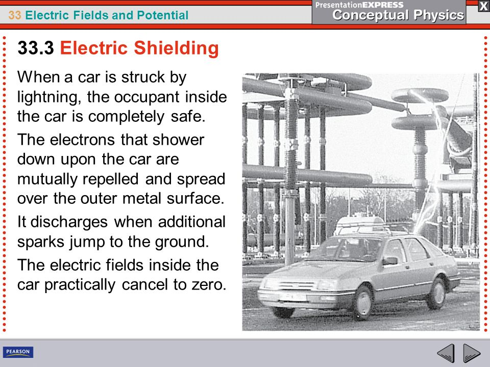 33 Electric Fields and Potential When a car is struck by lightning, the occupant inside the car is completely safe. The electrons that shower down upo