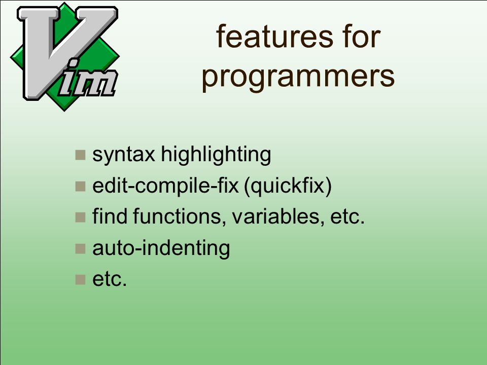 features for programmers syntax highlighting