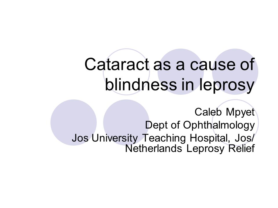 Cataract as a cause of blindness in leprosy Caleb Mpyet Dept of Ophthalmology Jos University Teaching Hospital, Jos/ Netherlands Leprosy Relief