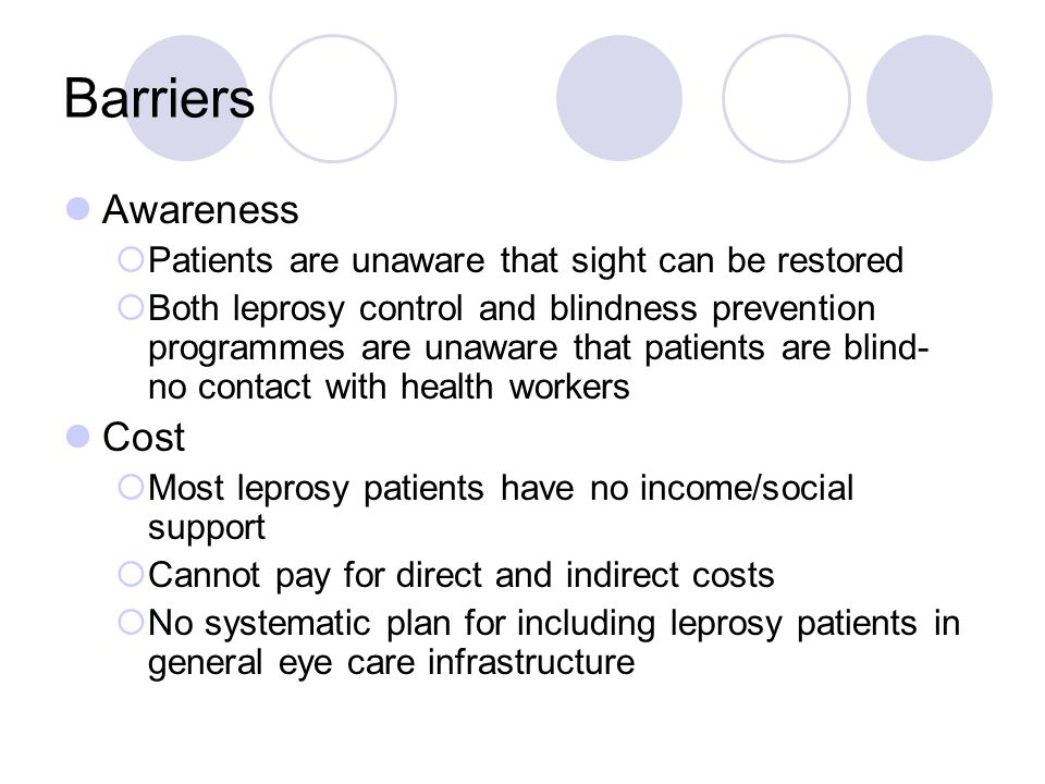Barriers Awareness Patients are unaware that sight can be restored Both leprosy control and blindness prevention programmes are unaware that patients