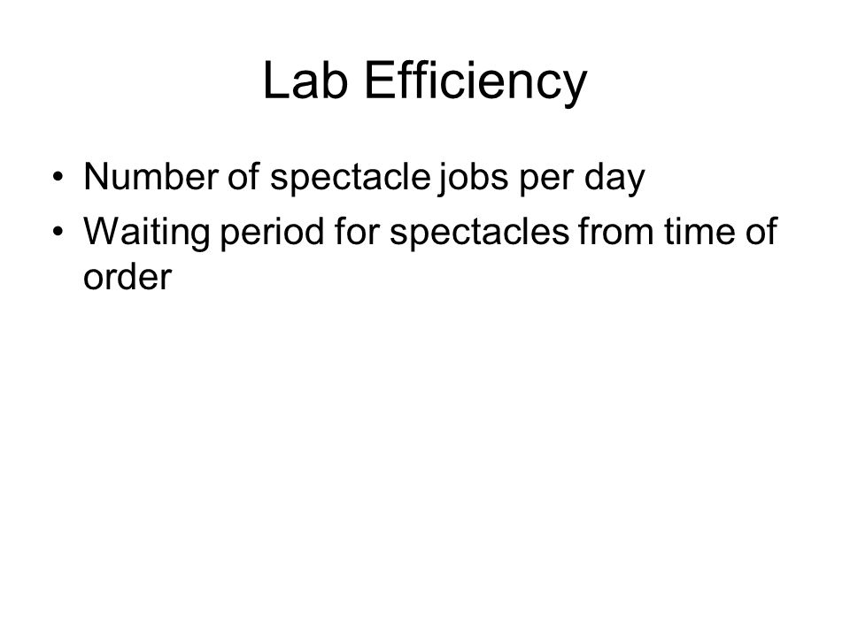 Lab Efficiency Number of spectacle jobs per day Waiting period for spectacles from time of order