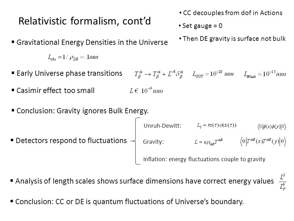 Gravitational Energy Densities in the Universe Relativistic formalism, contd CC decouples from dof in Actions Set gauge = 0 Then DE gravity is surface not bulk Early Universe phase transitions Casimir effect too small Conclusion: Gravity ignores Bulk Energy.